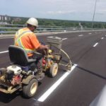 Line painting worker